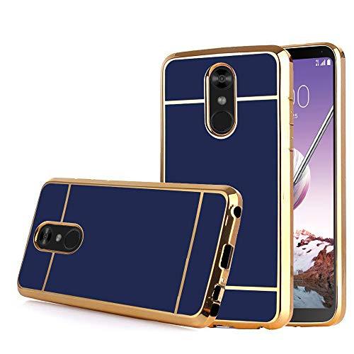 TabPow LG Stylo 4 Case, LG Stylo 4 Plus (Q710) / LG Q Stylus, Electroplate Slim Glossy Finish, Drop Protection, Shiny Luxury Case - Royal Blue Gold