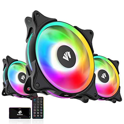 Asiahorse FS-9002Pro - Caja de rodamientos ARGB (120 mm, ventilador de radiador, luz blanca (en y efecto de luz exterior) con...