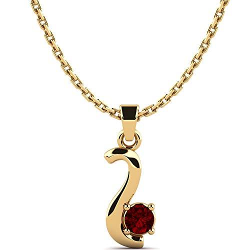 Rebecka Gouden halsketting voor dames, 9K 375 geelgoud, 3 mm AAA granaat, 0,10 ct + 45 cm ketting 9K 375 goud, elegante edelsteensieraden, hanger voor geliefde, cadeau voor Valentijnsdag + luxe etui
