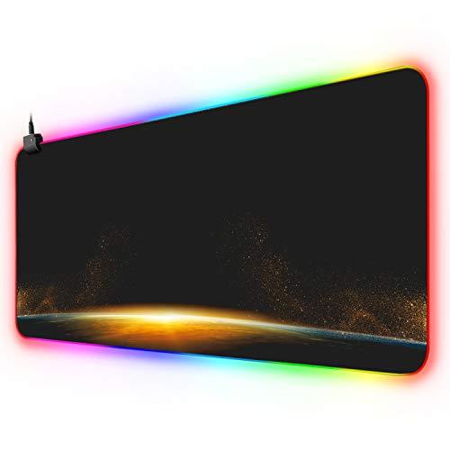 Erweiterte ZHSX-Mausmatte, RGB-Gaming-Mauspad mit 12 Lichtmodi, LED-Tastatur-Mausmatte für Spiele, Computer, Büro und Schreibtisch (800 × 300 × 4 mm)