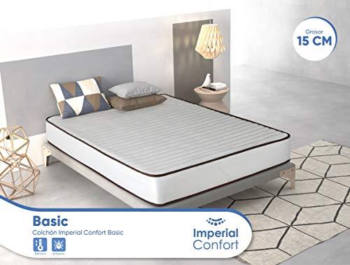 Imperial Confort Basic - Colchón Viscoelástico acolchado - Tejido Damasco Aloe Vera - Grosor 15 cm - 90x180