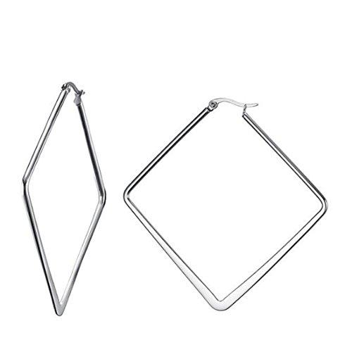 Caimeytie - Orecchini a cerchio da donna, in acciaio inossidabile, motivo geometrico