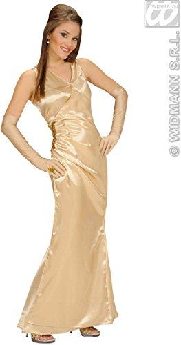 Satijn gouden beroemdheid & jurk-handschoenen maat 10-12 M