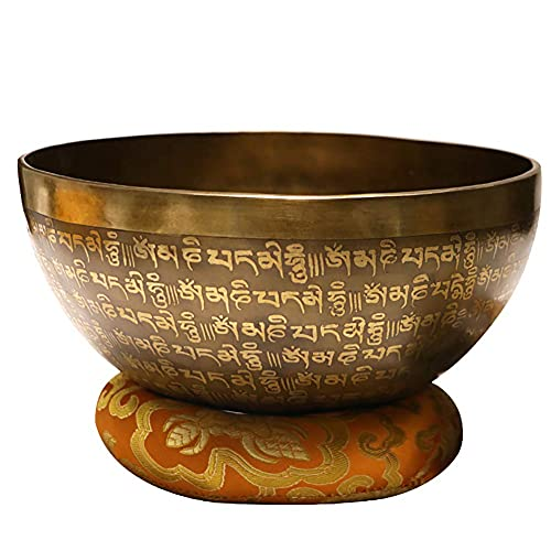 SXFYHXY Singing Bowl 22cm, with Dual Surface Mallet and Silk Cushion for Meditation Chakra Healing, Through Vibration Buddhism Singing Bowl