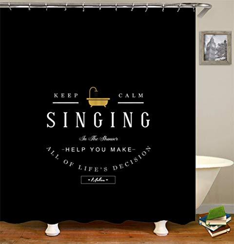 ZZZdz zwarte achtergrond. Gele badkuip. Witte Engelse woorden. Douchegordijn. Waterdicht. Eenvoudig te reinigen. 180 x 180 cm.