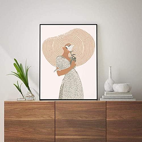 YHJK Pintura de la Lona Estilo Bohemio decoración de la Pared en el Arte Terracota minimalismo Pintura Arte Pintura Abstracta Retrato Femenino Cartel decoración del hogar 40x60 cm sin Marco