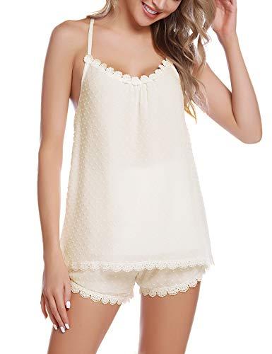 Nachtwäsche Damen Schlafanzug Kurz Pyjama Shorty Spitzen Sleepwear Sets Zweiteilige Mit Verstellbaren Trägern