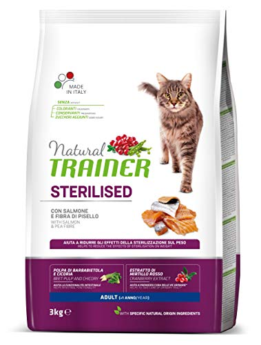 Trainer Natural Sterilised Adult con Salmone e Fibra di Pisello 3 kg - 3000 Gr