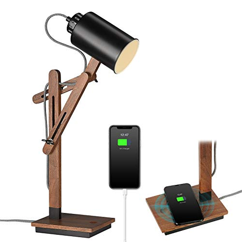 ELYONA Touch Control Wooden Desk Lamp - Wireless Charging & USB Port - Modern Multi-Angle Swing Arm Table Lamp for Bedroom - Eye-Caring Reading Task Light for Study Work, Office, College Dorm - Black
