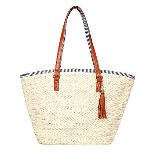 JOSEKO Stroh Handtasche, Sommer Strand Tasche Damen Schultertasche mit Ledergriffe Quaste Henkeltasche Frauen Strandtasche Crossbody Tasche Einkaufstasche Basttasche für Reise Täglicher(Beige-weiß)