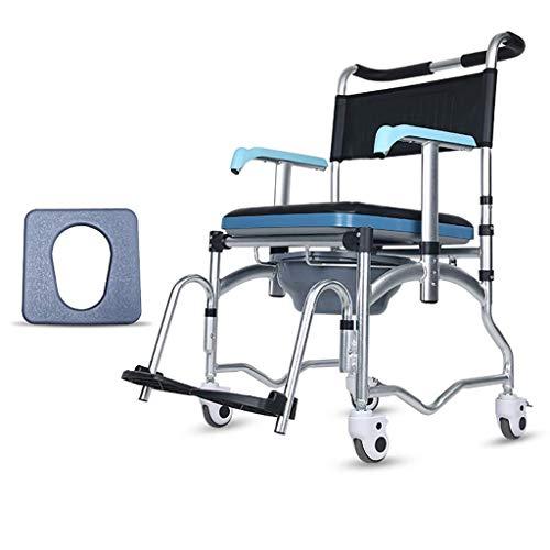 OCYE Opvouwbare nachtkastje Commode, multifunctioneel met toiletpot en kussen, mobiel draagbaar over toilet en bed Commode douchestoel, verstelbare armleuning geschikt voor ouderen gehandicapte zwangere wo