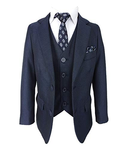 SIRRI Tailored Fit Hochzeitsset Kinder All in One Jungen Anzug, 6 Teilig in Marineblau Alter 10