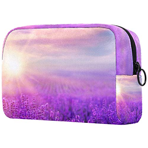 Toiletry Bag Cosmetic Travel Makeup Organizer Wash Bag Pouch with Zipper Sunset Over A Violet Lavender Field for Travel Accessories Essentials