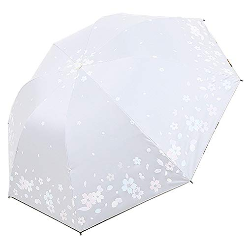 iLoveDeco Farbwechsel Regenschirm Taschenschirm(Sakura-Muster), 8 verstärkten Rippen, kompakte Winddichte Leicht Sonnenschirm Regenschirm mit Anti-UV-Schutz Farbwechsel bei Regen