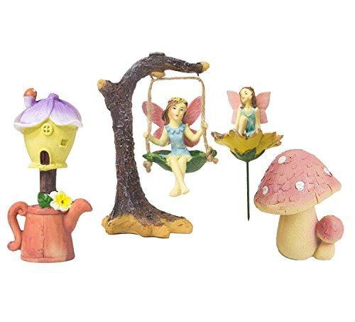 Juvale 4 Stück Garten Feen Kit - Feen Miniatur Harz Figuren Statuen mit Zubehör Deko Frühling Blume Garten Ornamente für Outdoor, Rasen, Hof, Blumentopf und Hausdekoration