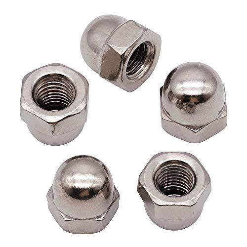 M8-1.25mm (20 PCS) Acorn Hex Cap Nuts Locknuts, 304 Stainless Steel, Bright Finish