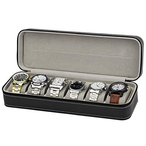 JIAJBG Caja de almacenamiento de reloj clásica de cuero con cierre de 6 ranuras, color negro para reloj exquisito/negro / 33 x 11 x 7,5 cm