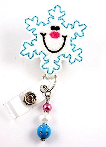 Smiling Christmas Snowflake - Nurse Badge Reel - Retractable ID Badge Holder - Nurse Badge - Badge Clip - Badge Reels - Pediatric - RN - Name Badge Holder