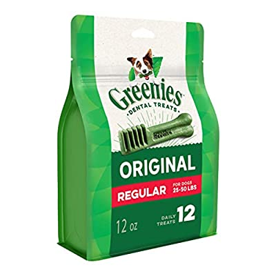 GREENIES Original Regular Natural Dog Dental Care Chews Oral Health Dog Treats, 12 oz. Pack (12 Treats)