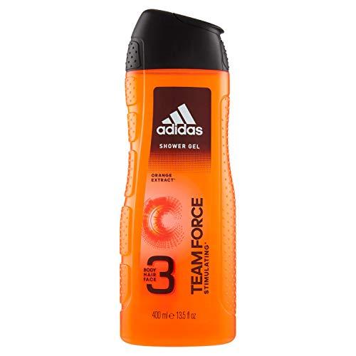 Adidas Team Force Gel Doccia Bagnoschiuma 3 in 1 per Corpo, Capelli e Viso, 400 ml