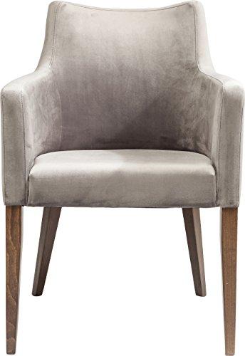 Kare Design Armlehnstuhl Mode, moderner, bequemer Esszimmerstuhl, gepolsterter Essstuhl mit Armlehne, Grau-Braun, XXL Esszimmerstuhl, Maße (H/B/T) 87x58x67cm