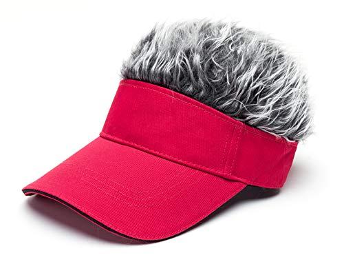 Men's Novelty Flair Spiked Hair Visor Sun Funny Golf Hats Fake Wig Peaked Adjustable Baseball Caps Red Grey