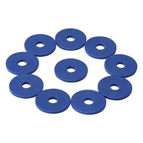 100 Einkaufswagenchips mit 6mm Loch EKW Pfandmarken Wertmarken Farbe Blau + 3 Chiphalter für Schlüsselbund von SchwabMarken