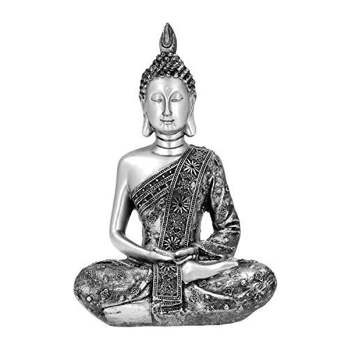 Silver Color Chroma Lord Buddha Statue Decorations Showpiece Religious Idol Figurine Spiritual Festive Table Decor