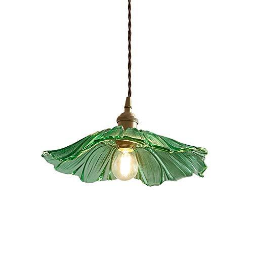 Detrás de la luz colgante de vidrio, luces colgantes de la habitación E27 modernas, accesorios de iluminación de forma de hoja de loto creativos ajustables para la isla de la cocina, comedor, balcón
