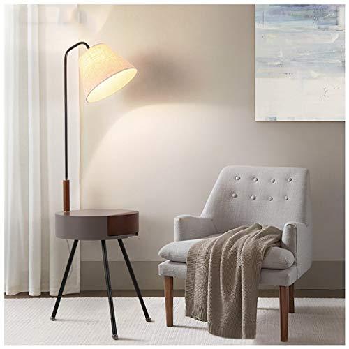 QTDH ijzeren slaapkamer tripod Lettura tafellamp met lade design tafel Nordic Living Room Sofa Eye-Care Standing Floor Lamp