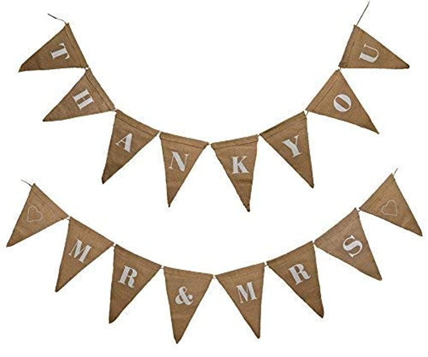 Firefly Craft Reversible Wedding Burlap Banner – Thank You and Mr. & Mrs.