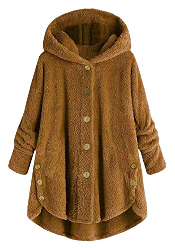OMZIN Pullover Damen Teddy-Fleece Winter Kapuzenpullover Knopfdesign Hooded Plüsch Pulli Winterjacke Flauschig Outwear Kaffee 5XL