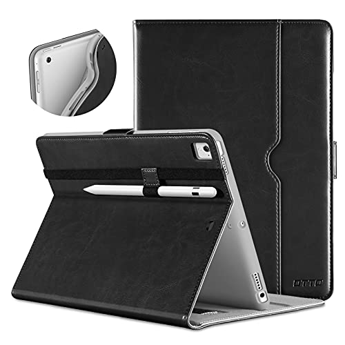 DTTO New iPad 9.7 Inch 5th/6th Generation 2018/2017 Case with Apple Pencil Holder, Premium Leather Folio Stand Cover Case for Apple iPad 9.7 inch, Also Fit iPad Pro 9.7/Air 2/Air - Black