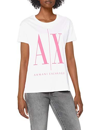 Armani Exchange T-Shirt Camiseta, White Walk of Fame, S para Mujer