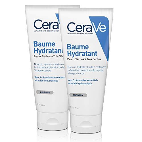 CeraVe Baume Hydratant   2 x 177ml   Crème Hydratante 48h Corps, Visage, Mains à l'Acide Hyaluronique pour Peaux Sèches à Très Sèches