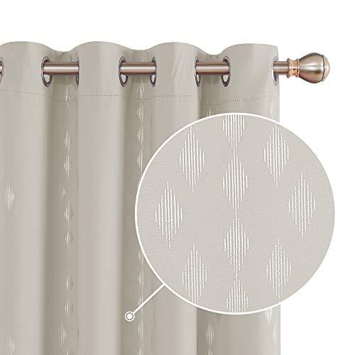 Deconovo Cortinas Salon Modernas Aislantes Térmicas de Rombo Vertical con Ollados 2 Piezas 140 x 245 cm Beige Claro