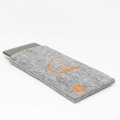 MyCrazyCover Filz Hülle Handysocke Handyschutz Schutzhülle Handytasche Handyhülle Filztasche Filzhülle kompatibel mit Huawei iPhone Samsung HTC Xiaomi LG OnePlus Sony Grau/Orange L Katze
