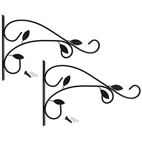 com-four Soporte de Pared 2X de Acero con Recubrimiento en Polvo, Gancho para Maceta, jardín, Campanas de Viento, Canasta Colgante, con Tornillos y Tacos (2 Piezas - Hojas)