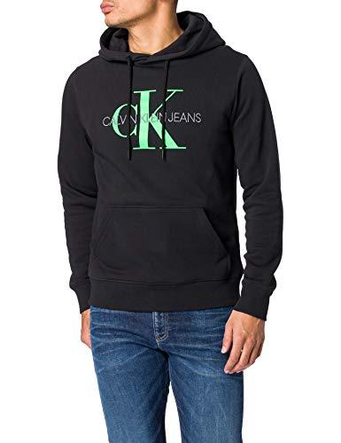 Calvin Klein Monogram Reg Hoodie Felpa, CK Black, L Uomo