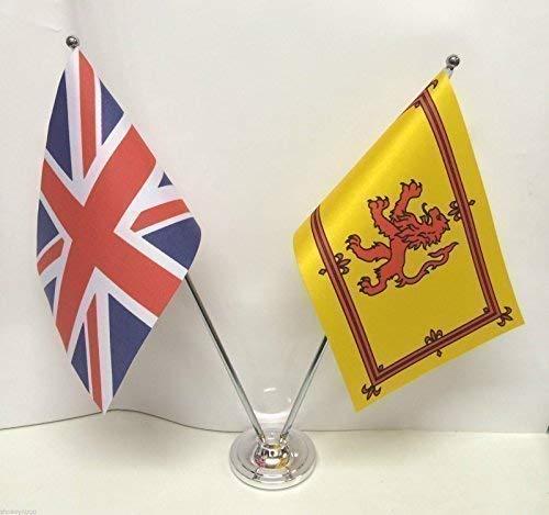 De Reino Unido y Escocia Rampant de león de la bandera de cromo y de escritorio juego de banderines