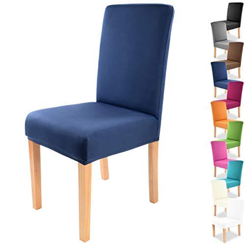 """Gräfenstayn® Funda para sillas elásticas Charles - respaldos Redondos y angulares - Ajuste bi-elástico con Junta Oeko-Tex Standard 100:""""Confianza verificada (Azul)"""