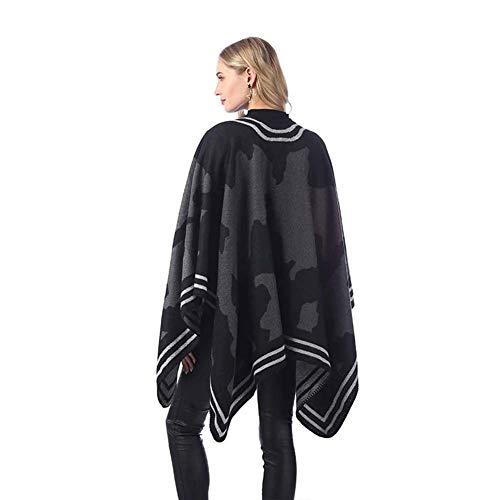 ADHW Lady Nähen Poncho Cape Vorne Offen Reversible überdimensioniert Schals Winter Weiche Warm Decke Wrap Cardigans Reise Schals Strand (Color : 02)