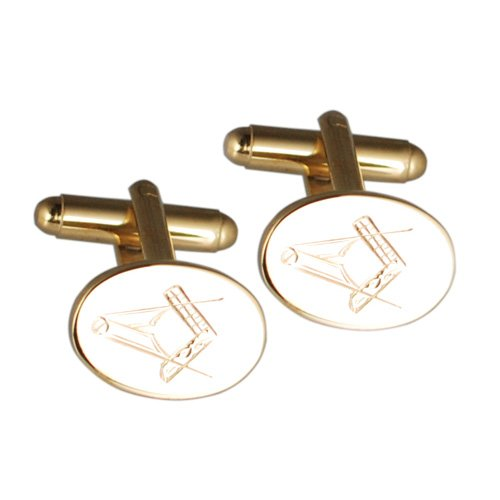British Jewellery Workshops Boutons de Manchettes 12x16mm en plaqué Or avec Gravure Maçonnique Faite à la Main