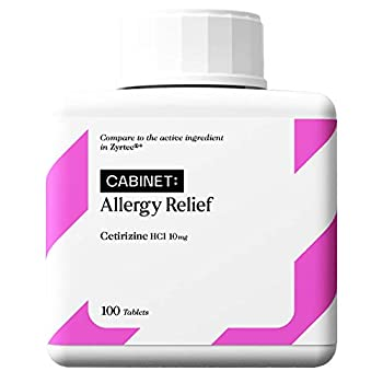 Cabinet 24-Hour Allergy Medicine  100-Count  Non-Drowsy Antihistamine for Pollen Hay Fever Dry Itchy Eyes Allergies   Cetirizine HCl Caplets   Kids and Adults