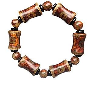 ZHIBO Armband mit Dzi Perlen aus natürlichem altem Achat