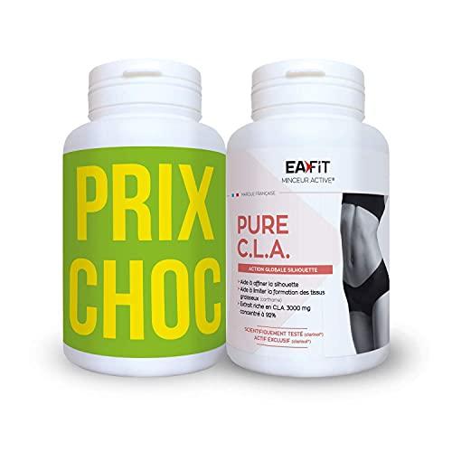 EAFIT Duo Pure CLA - Aide à affiner la silhouette - 2 x 90 gélules - Prog. 30 j - Limite la formation des tissus graisseux - Action global sur la silhouette - 3000mg concentré à 92% - Marque française