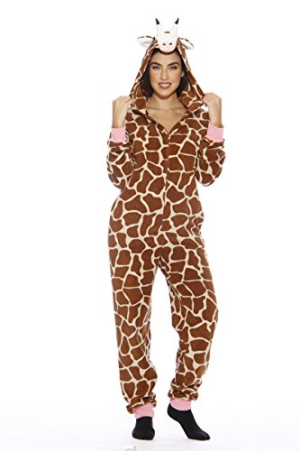 L6401-M-Giraffe #FollowMe Adult Onesie Pajamas