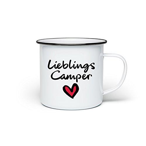 TassenTicker Camping-Tasse mit Spruch Lieblings Camper Kaffeetasse Kaffeebecher Emaille-Tasse Campingbecher