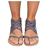 feftops Mujer Sandalias de Playa Verano Cómodo Masaje planas Sandalias Zapatillas Antideslizantes Suela Blanda Color Liso Planas Romanas Con Cremallera Chanclas Exterior