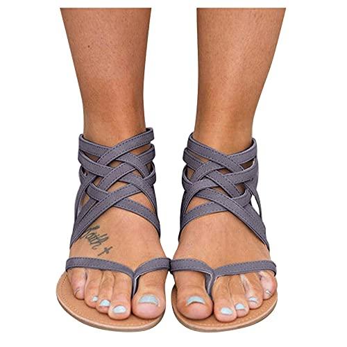 Aniywn Summer Sandals for Women  Clip Toe Flat Sandals Slip On Flip Flops Thongs T-Strap Bohemia Beach Slippers Shoes Gray